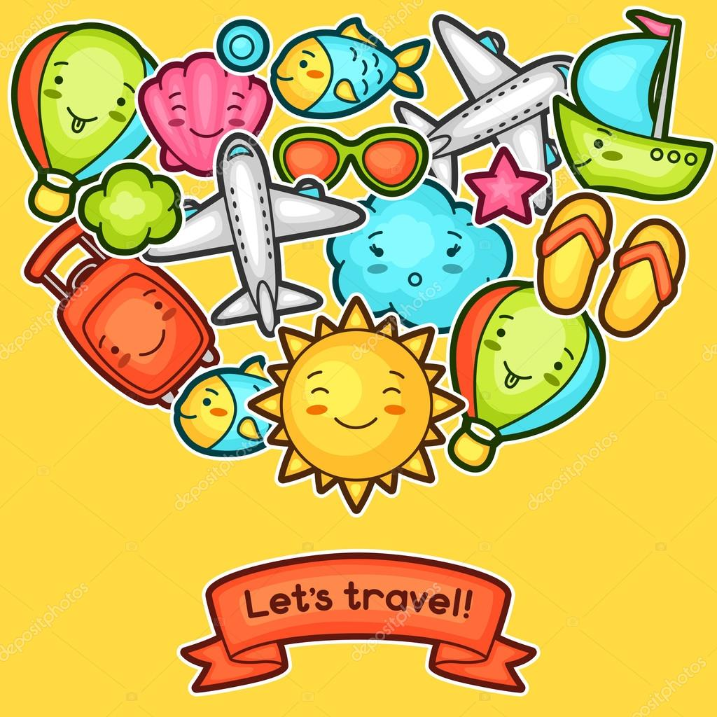 cute travel background with kawaii doodles summer collection of