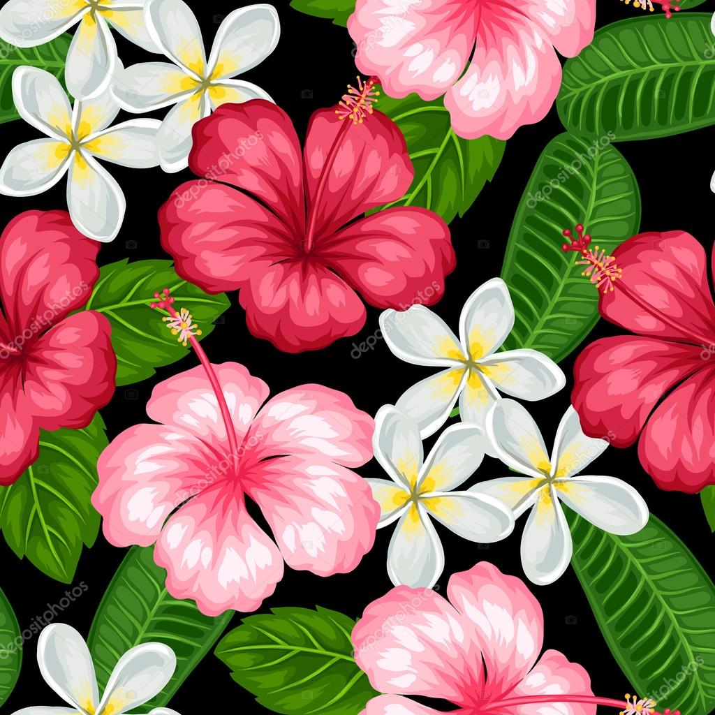 Seamless pattern with tropical flowers hibiscus and plumeria seamless pattern with tropical flowers hibiscus and plumeria background made without clipping mask easy to use for backdrop textile wrapping paper izmirmasajfo