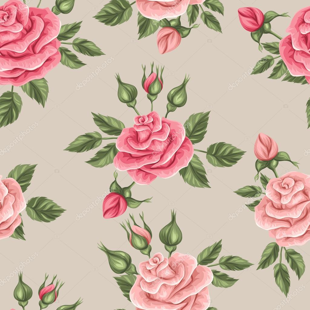 Papel Vintage Con Rosas Patrón Transparente Con Rosas Vintage