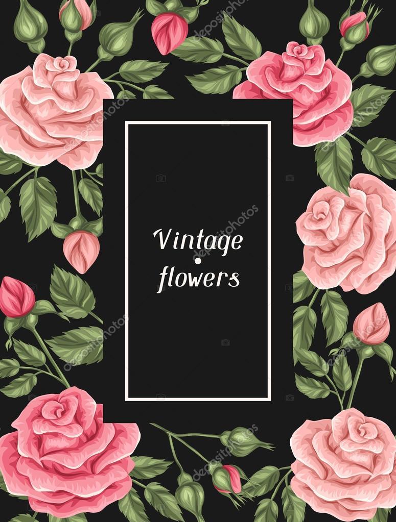 Marco con rosas vintage decorativos flores retros imagen - Bodas sencillas y romanticas ...
