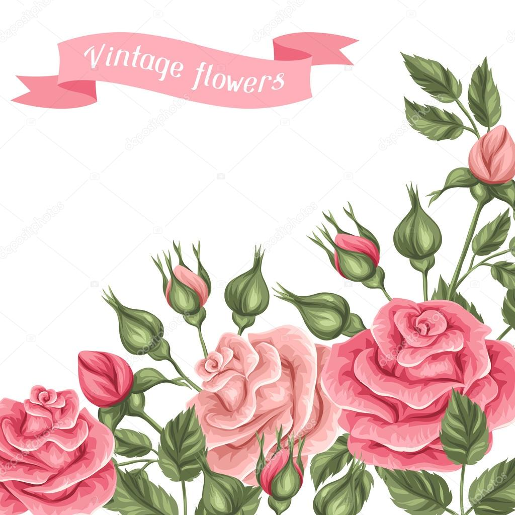 background with vintage roses decorative retro flowers image for
