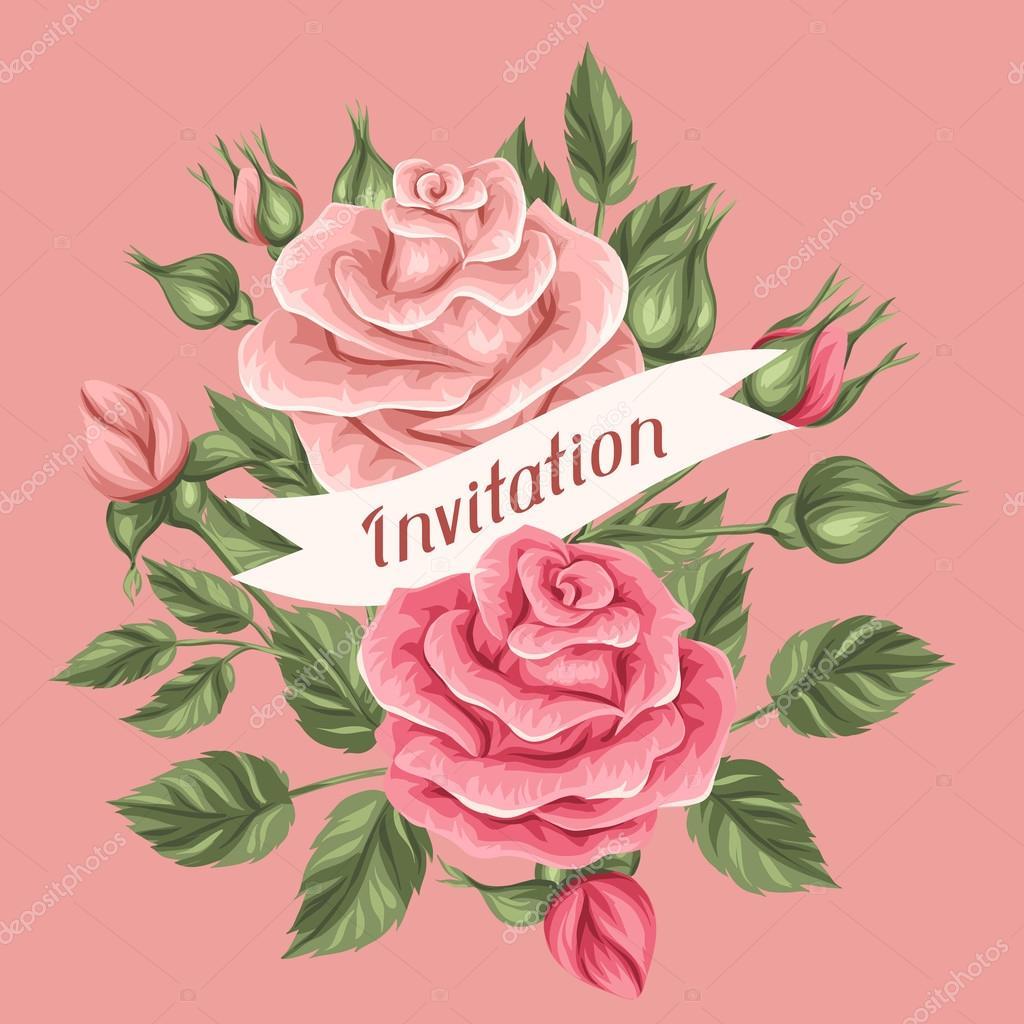 Tarjeta De Invitaci N Con Rosas Vintage Decorativos Flores Retros