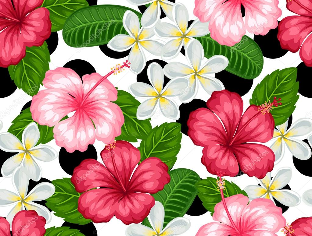 Seamless Pattern With Tropical Flowers Hibiscus And Plumeria