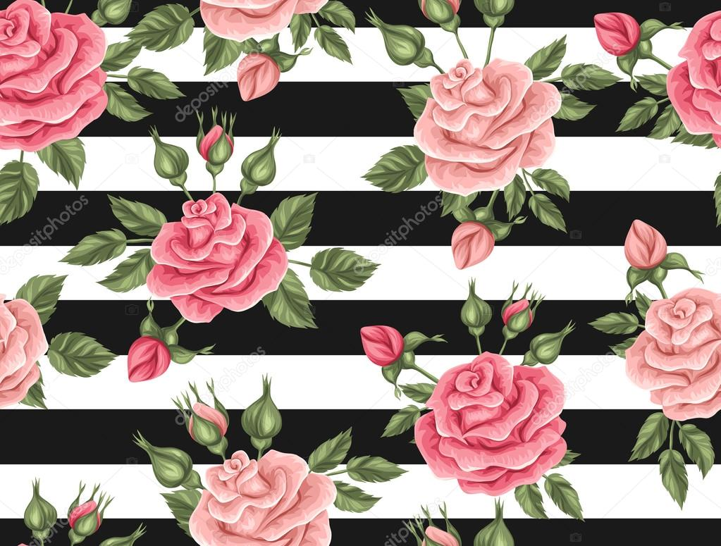 Flores Vectoriales Con Fondo Transparente: Patrón Transparente Con Rosas Vintage. Decorativos Flores