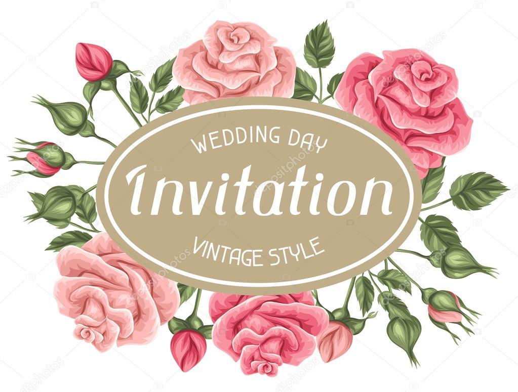 Tarjeta De Invitación Con Rosas