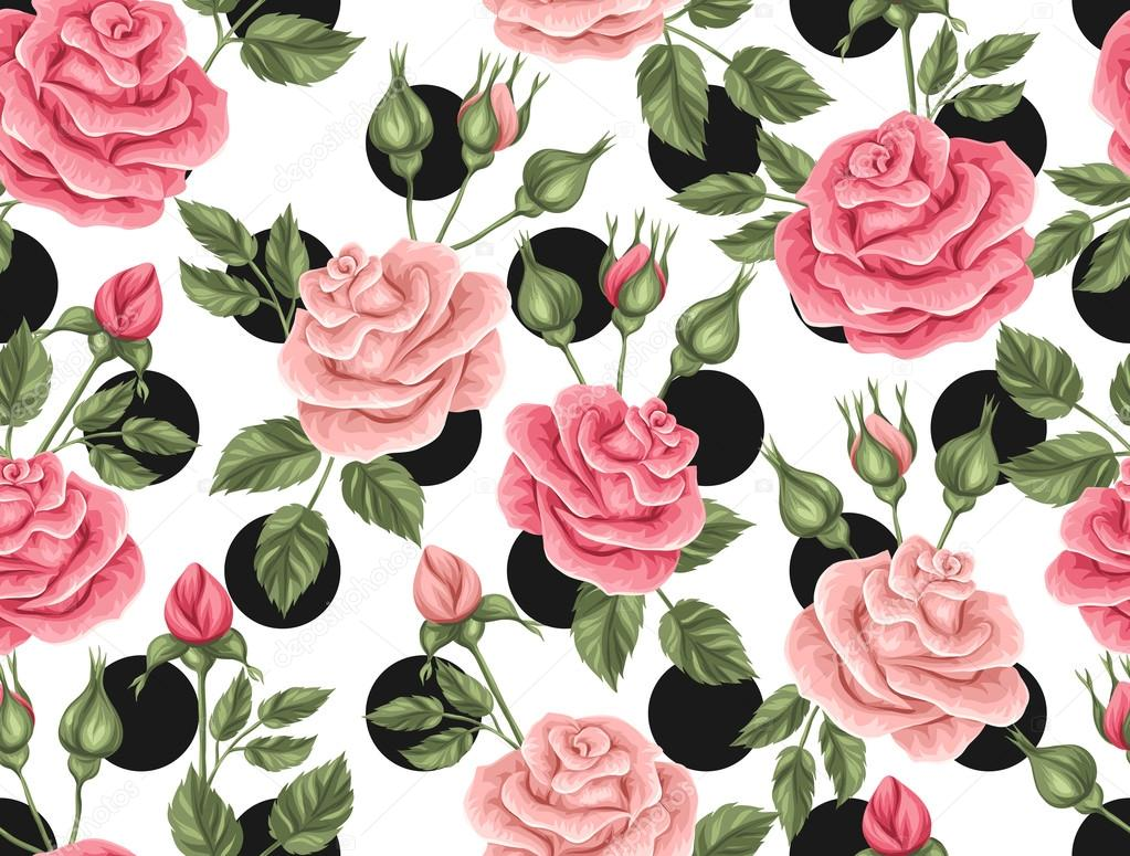 Patrón Transparente Con Rosas Vintage Decorativos Flores Retros