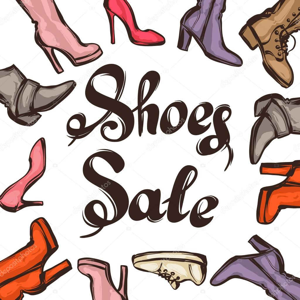 Background with lettering sale shoes. Hand drawn illustration female  footwear, boots and stiletto heels 04646a20646