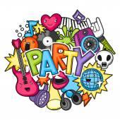 Musik Party Kawaii Design. Musikinstrumente, Symbole und Objekte im Cartoon-Stil