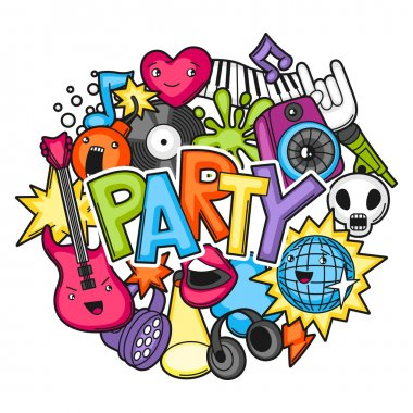 Music party kawaii design. Musical instruments, symbols and objects in cartoon style