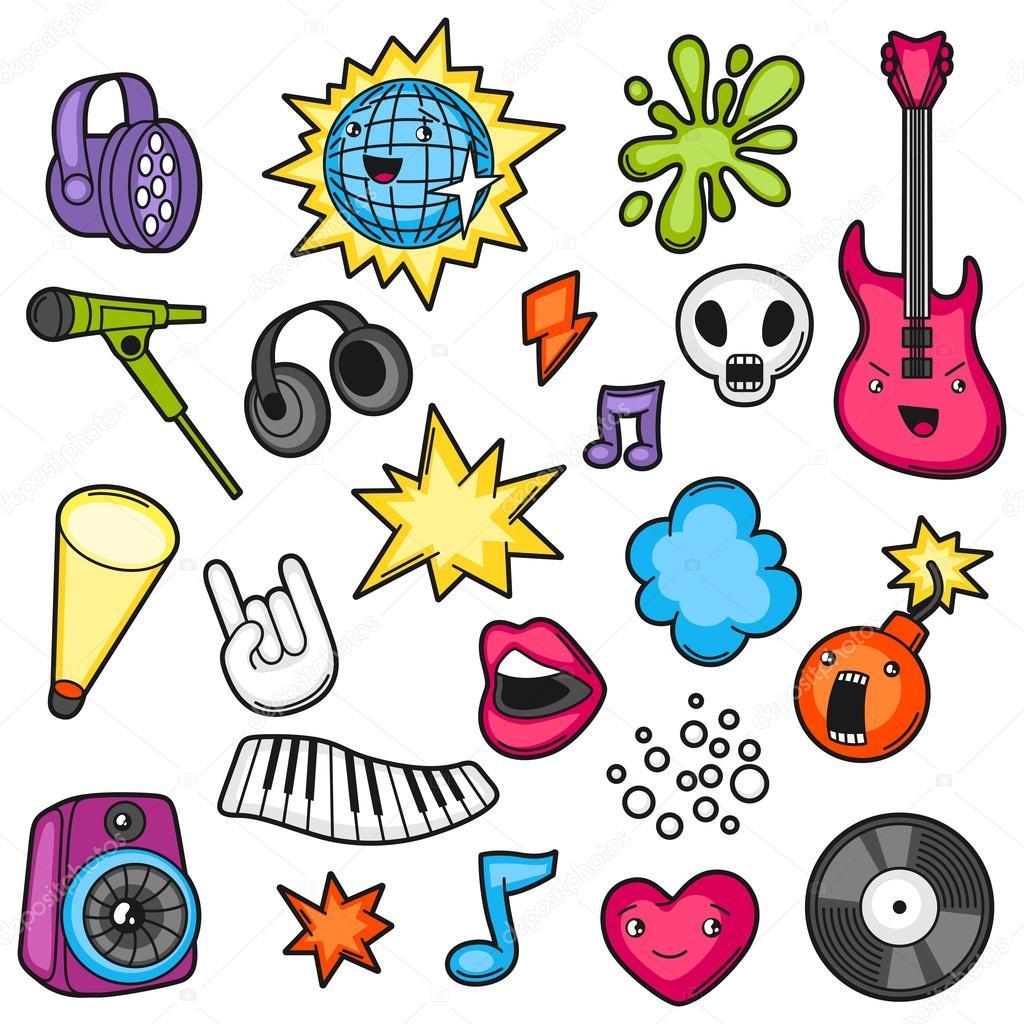 Música Partido Kawaii Juego. Instrumentos Musicales