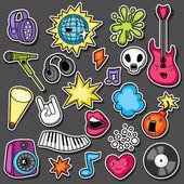 Musik Party Kawaii Aufkleber Set. Musikinstrumente, Symbole und Objekte im Cartoon-Stil