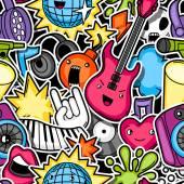 Musik-Party Kawaii nahtlose Muster. Musikinstrumente, Symbole und Objekte im Cartoon-Stil