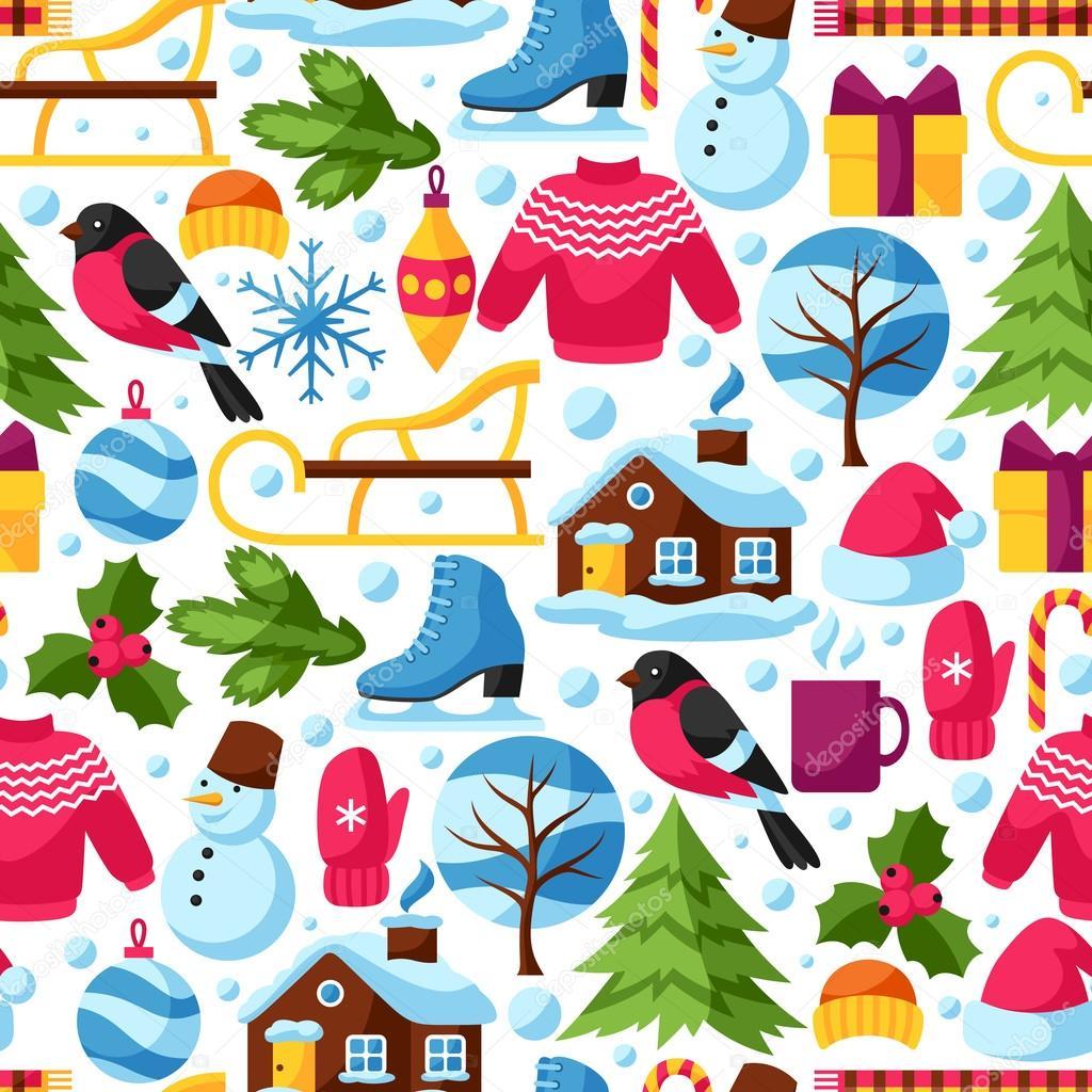 Patr n transparente con objetos de invierno feliz navidad feliz a o nuevo vacaciones art culos - Objetos de navidad ...