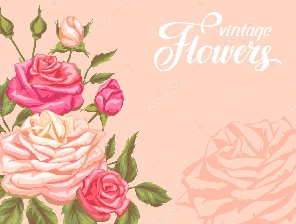 Tarjeta De Invitación Con Rosas Vintage. Decorativos