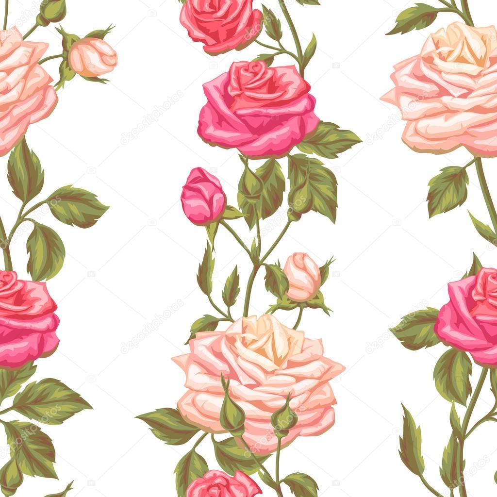 Fondos De Rosa Pintada Patrón Transparente Con Rosas Vintage