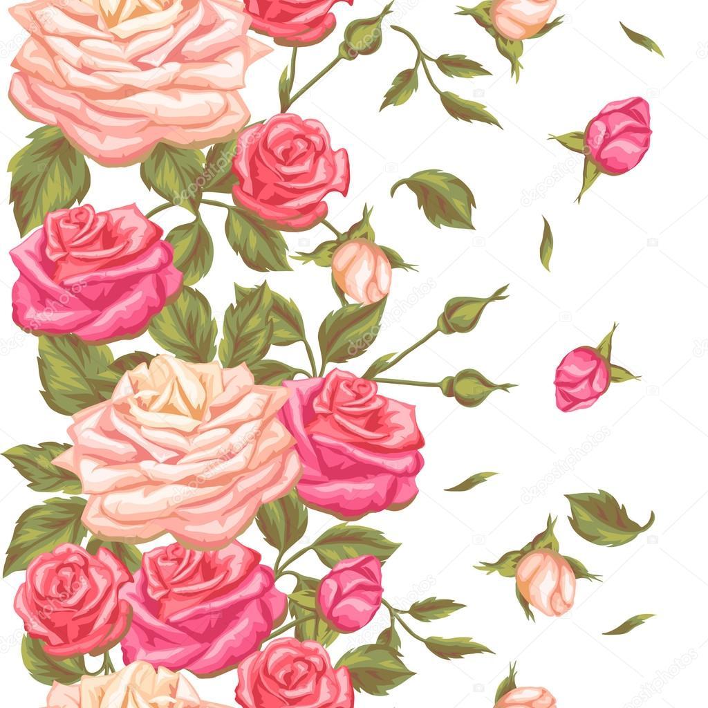 Modele Sans Couture Avec Roses Vintage Fleurs Decoratives De Retro