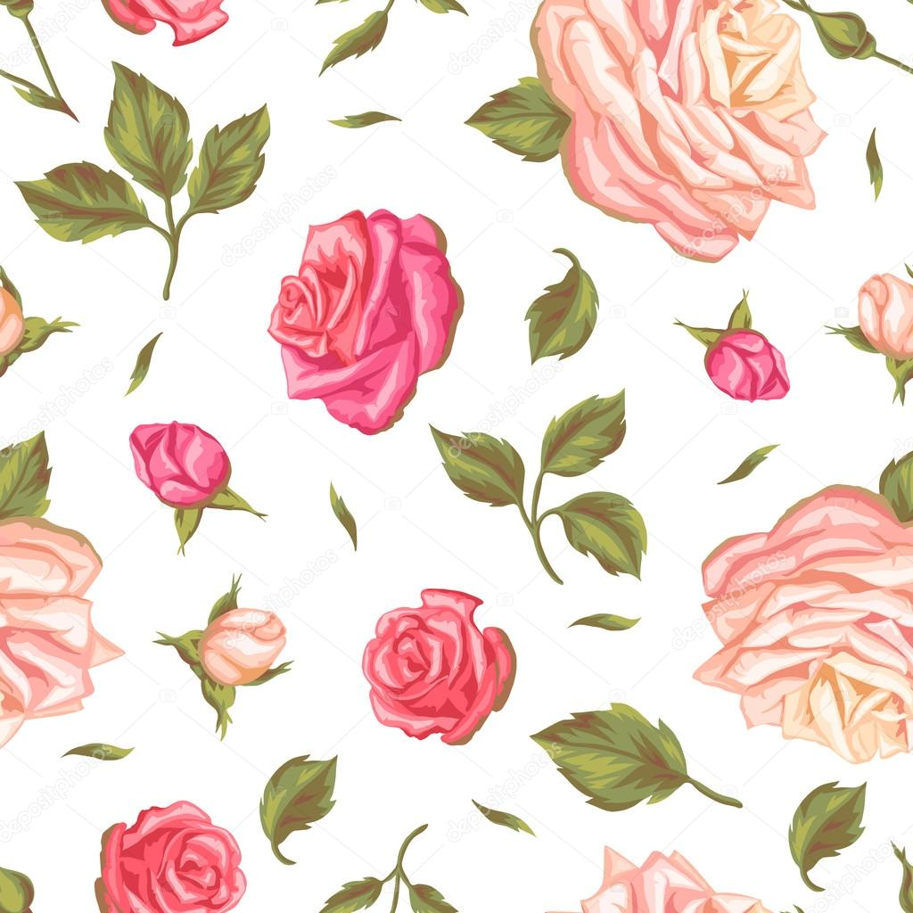 Seamless pattern with vintage roses decorative retro flowers easy seamless pattern with vintage roses decorative retro flowers easy to use for backdrop textile wrapping paper wallpaper vector by incomible mightylinksfo