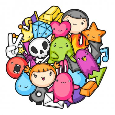 Game kawaii background. Cute gaming design elements, objects and symbols