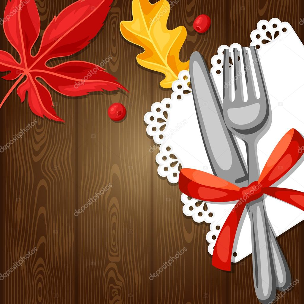 Thanksgiving Day greeting card. Background with cutlery and autumn leaves