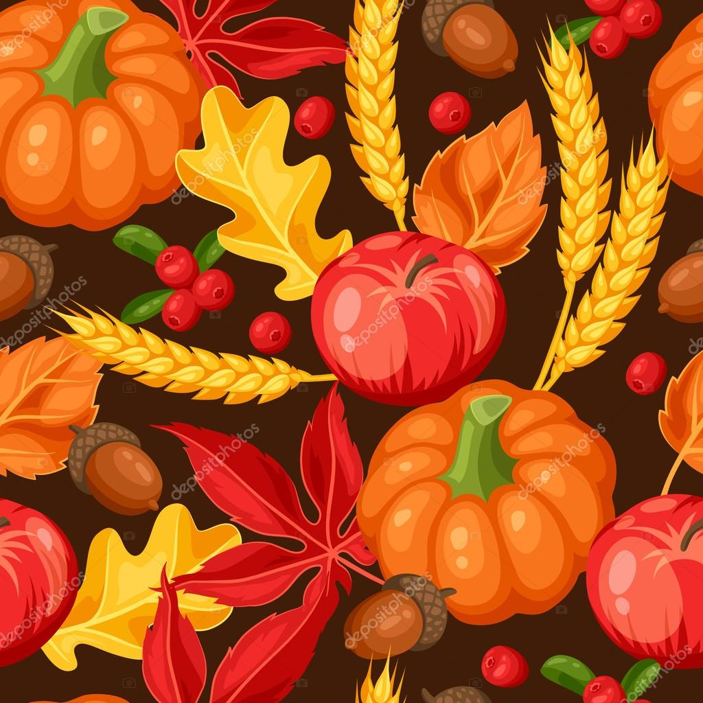 Thanksgiving Day or autumn seamless pattern. Ornament with vegetables and leaves