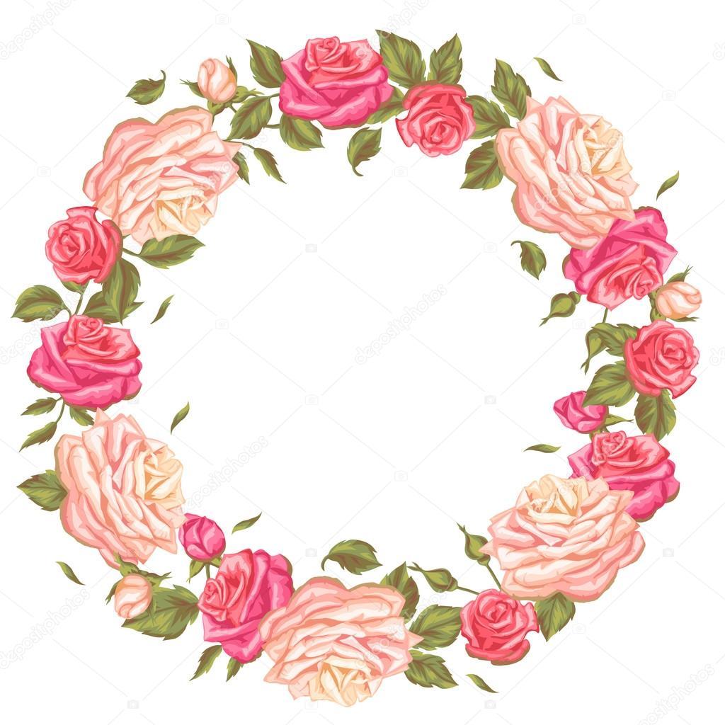 d8e3663c460f5 Marco con rosas vintage. Decorativos flores retros. Imagen para invitaciones  de boda