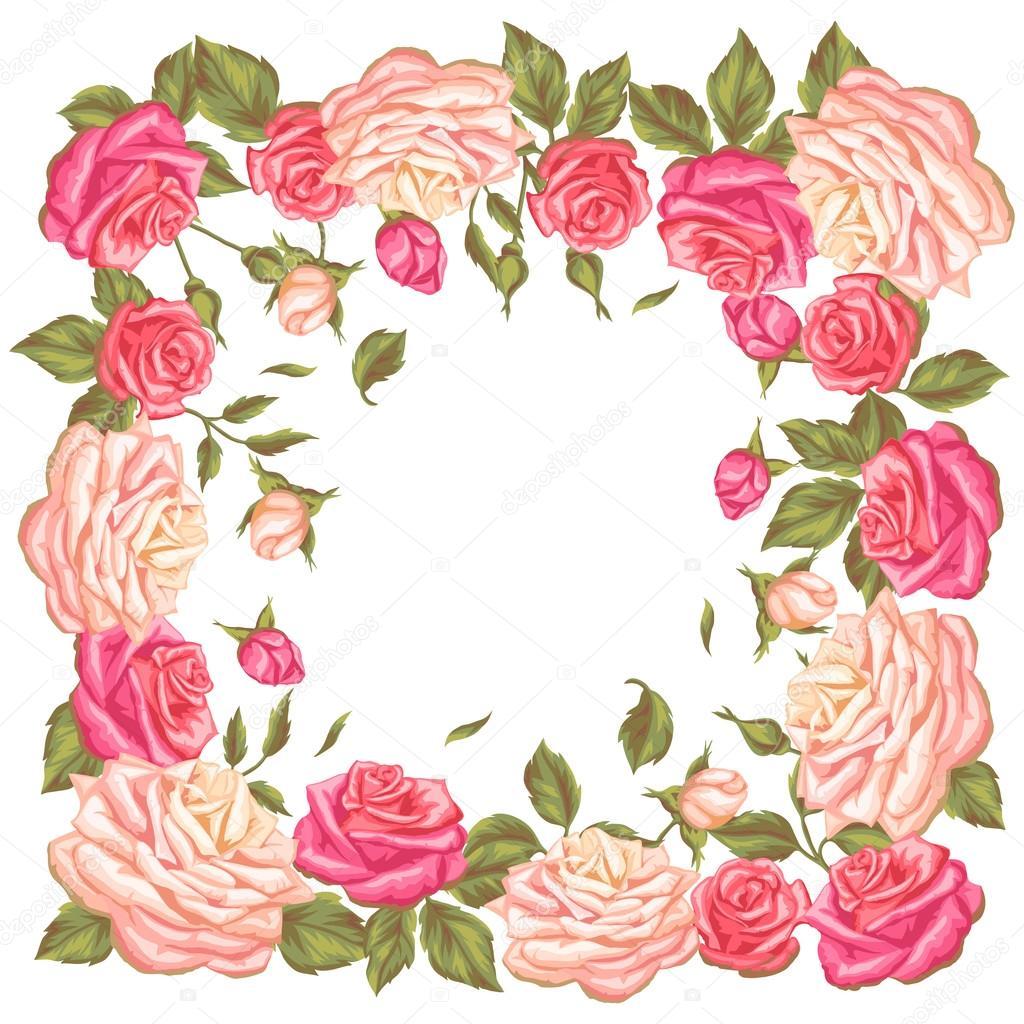 Marco con rosas vintage. Decorativos flores retros. Imagen para ...