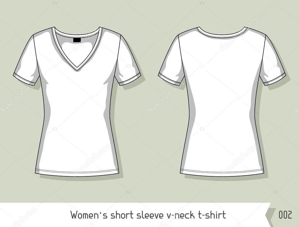 Las mujeres corto manga con cuello en v camiseta. Plantilla de ...