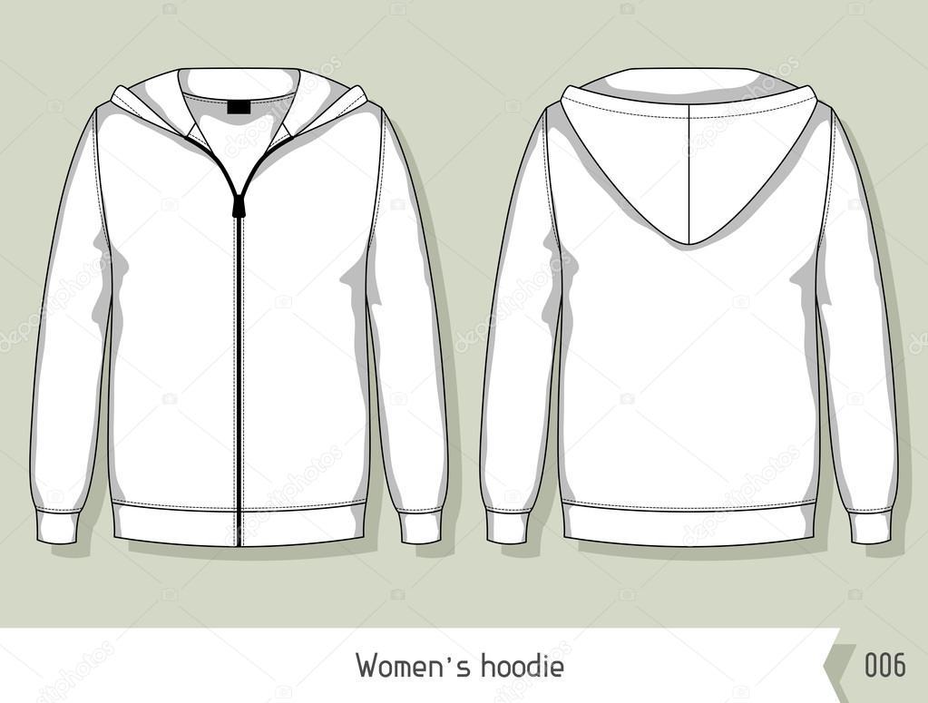 Mujeres sudadera con capucha. Plantilla de diseño, fácilmente ...