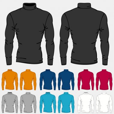 Set of colored turtleneck shirts templates for men. stock vector