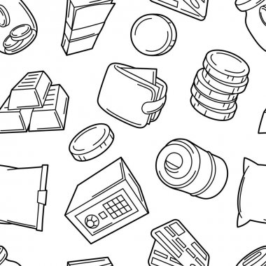 Banking seamless pattern with money icons. Business background with finance items. Economy and commerce stylized image. icon