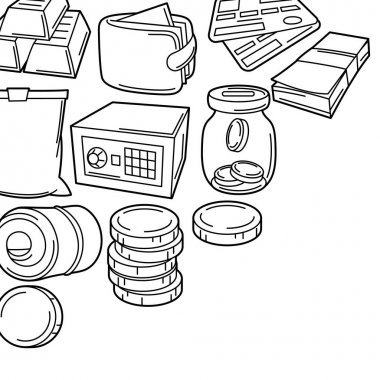 Banking background with money icons. Business concept with finance items. Economy and commerce stylized image. icon
