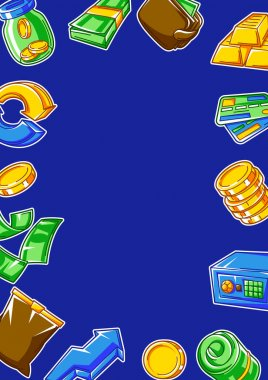 Banking frame with money icons. Business concept with finance items. Economy and commerce stylized image. icon
