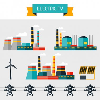 Electricity set of industry power plants in flat design style.