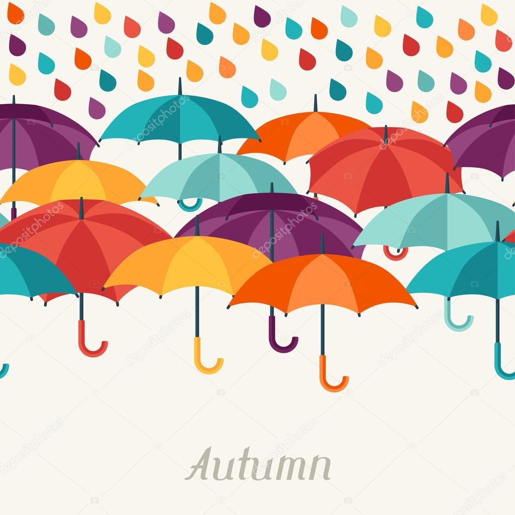 Autumn background with umbrellas in flat design style.