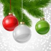 Fotografie Dovolená pozadí kartu šablona s vánoční koule