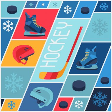 Sports background with hockey equipment flat icons.
