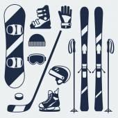 Fotografie Wintersport-Ausrüstung-Ikonen inmitten einer flachen Design-Stil