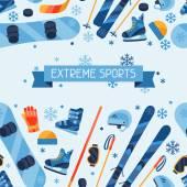 Fotografie Wintersport nahtlose Muster mit Ausrüstung flache icons