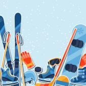 Fotografie Wintersport-Hintergrund mit Ausrüstung Aufkleber flach icons