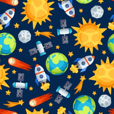 Seamless pattern of solar system, planets and celestial bodies.