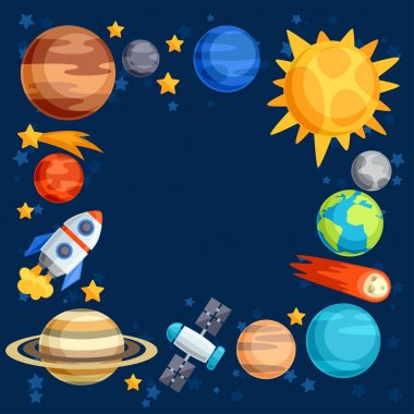 Background of solar system, planets and celestial bodies.