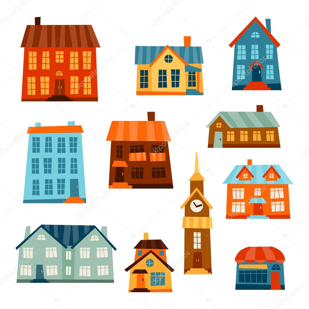 Town icon set of cute colorful houses.