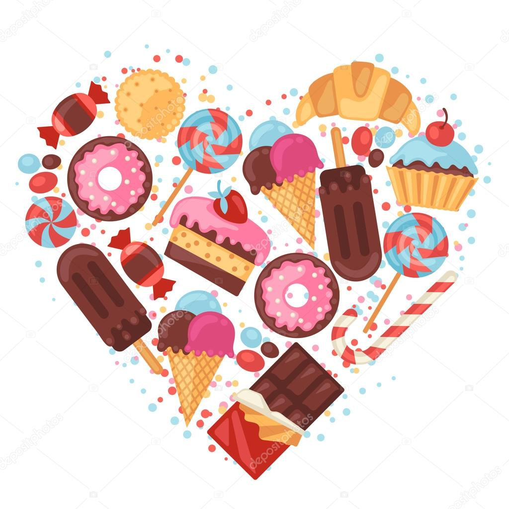 background with colorful various candy sweets and cakes