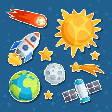 Cosmic icon set of solar system, planets and celestial bodies.