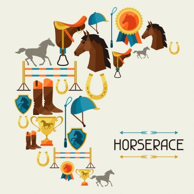 Illustration with horse equipment in flat style.