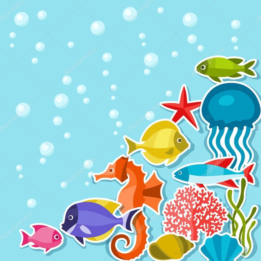 Marine life sticker background with sea animals.