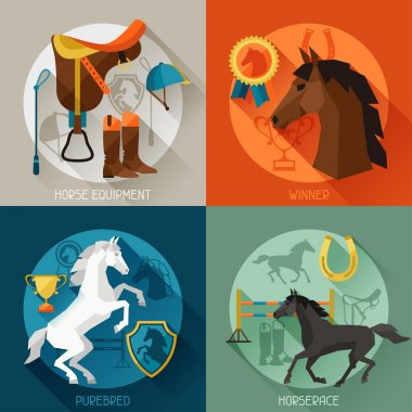 Backgrounds with horse equipment in flat style.