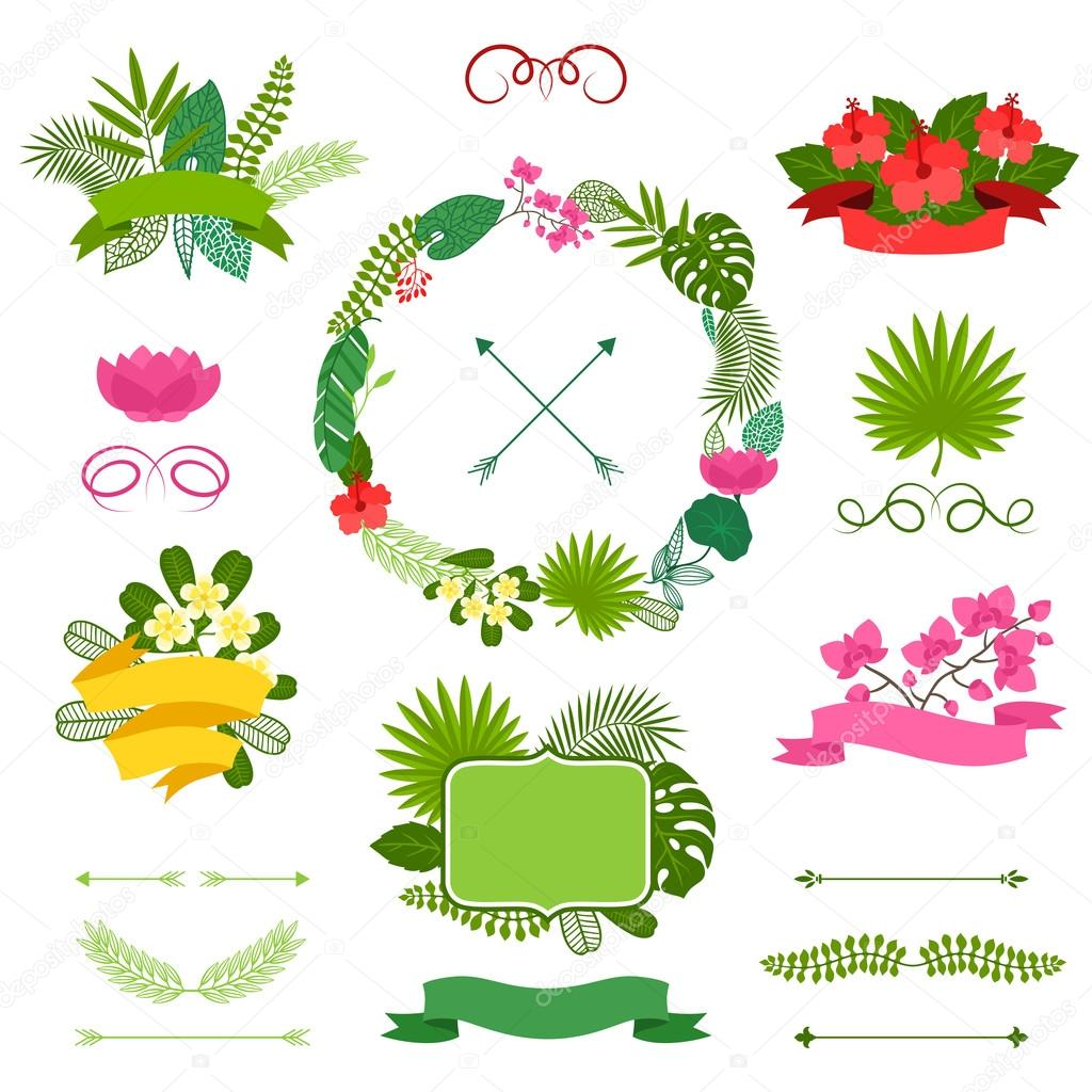 Set of tropical plants wreath, ribbons and labels.