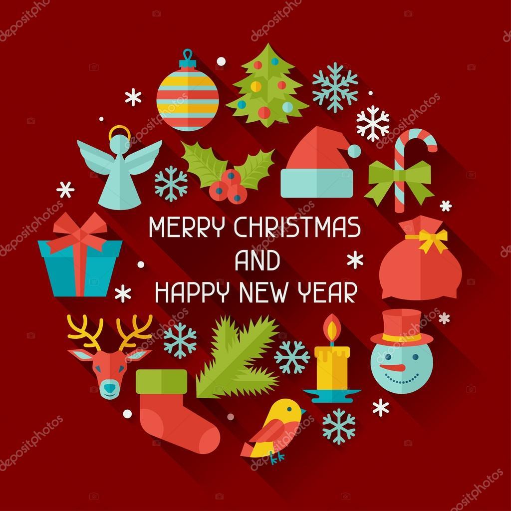 Feliz Navidad Y Feliz Año Nuevo Tarjeta De Invitación