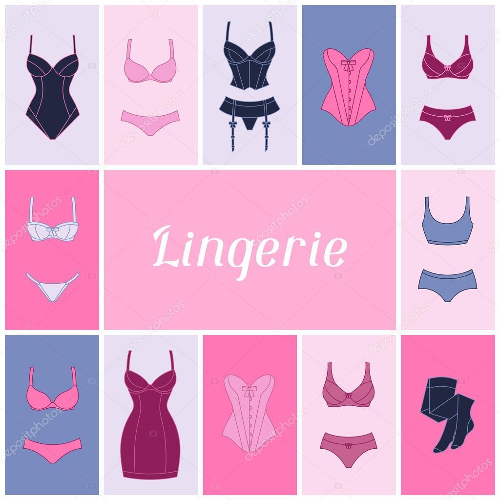 5f8ba03857 Diseño de fondo de lencería de moda con ropa interior femenina — Archivo  Imágenes Vectoriales